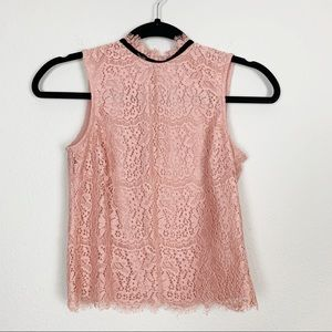 H&M High Neck Lace Victorian Romantic Cropped Top